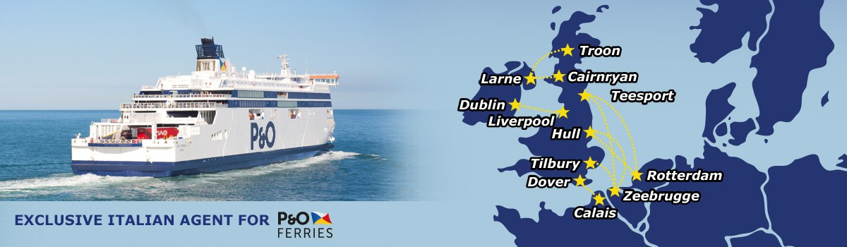 Ferry tickets between the countries of northern Europe and Great Britain and Ireland. Exclusive agent for the Italian territory of P&O Ferries.